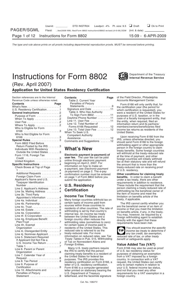 Form 8802 Application For United States Residency Certification