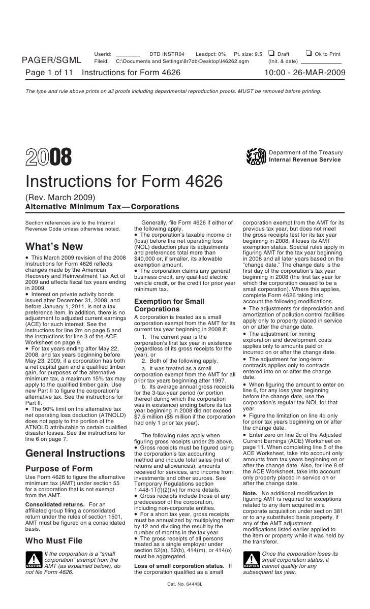 Form 4626-Alternative Minimum Tax-Corporations