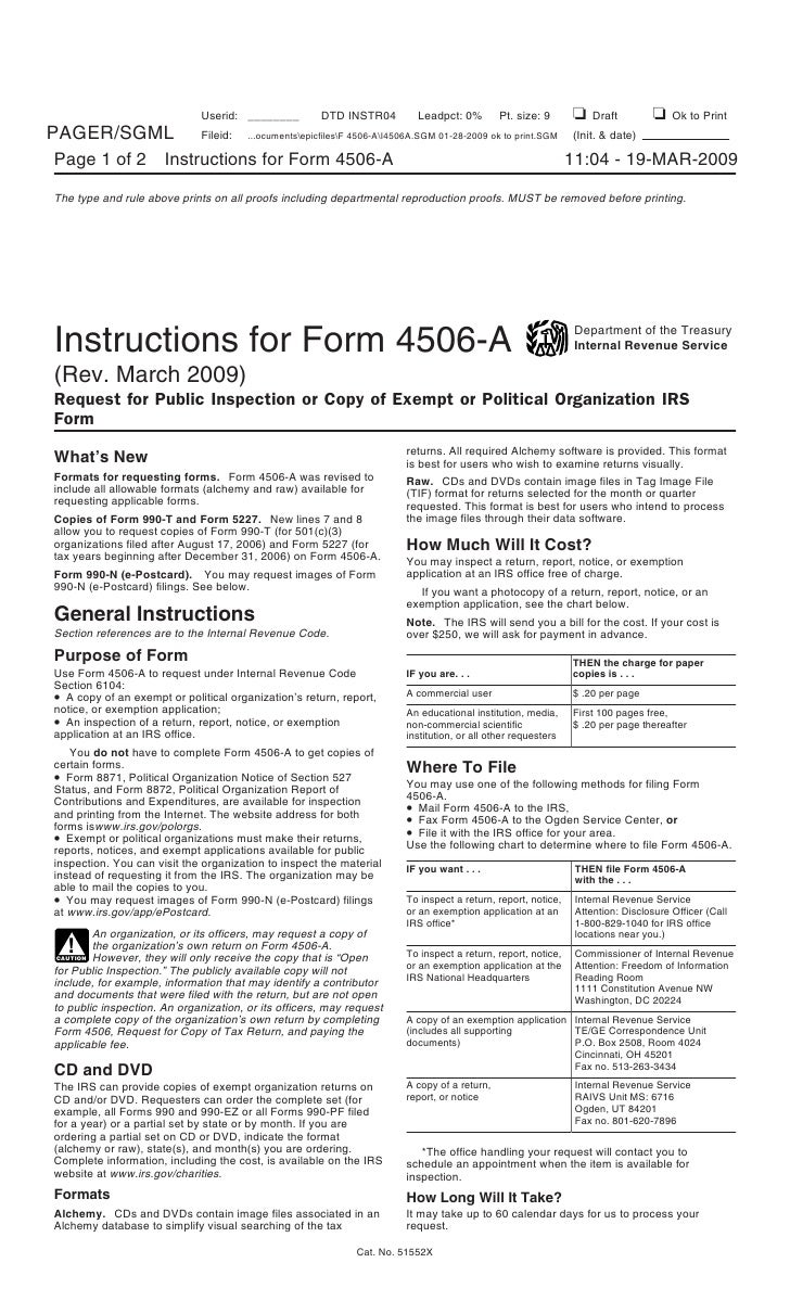 Instructions For Form 4506 A Request For Public Inspection Or Copy O