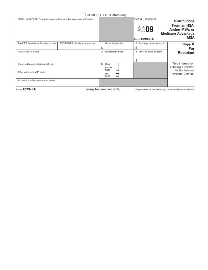 Form 1099 Sa Distributions From An Hsa Archer Msa Or Medicare Adva