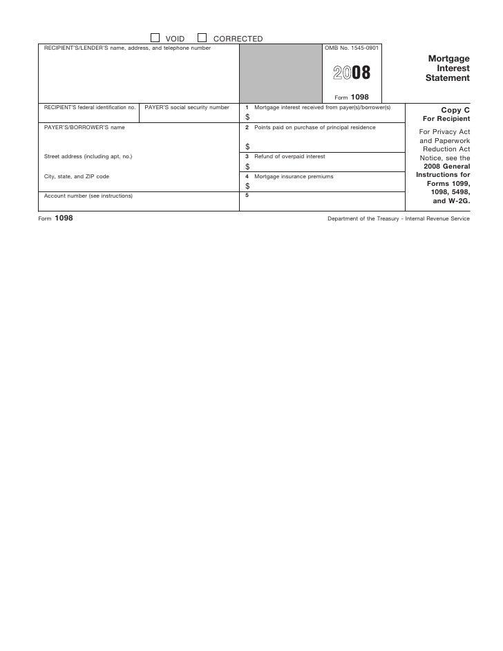 Form 1098 Mortgage Interest Statement