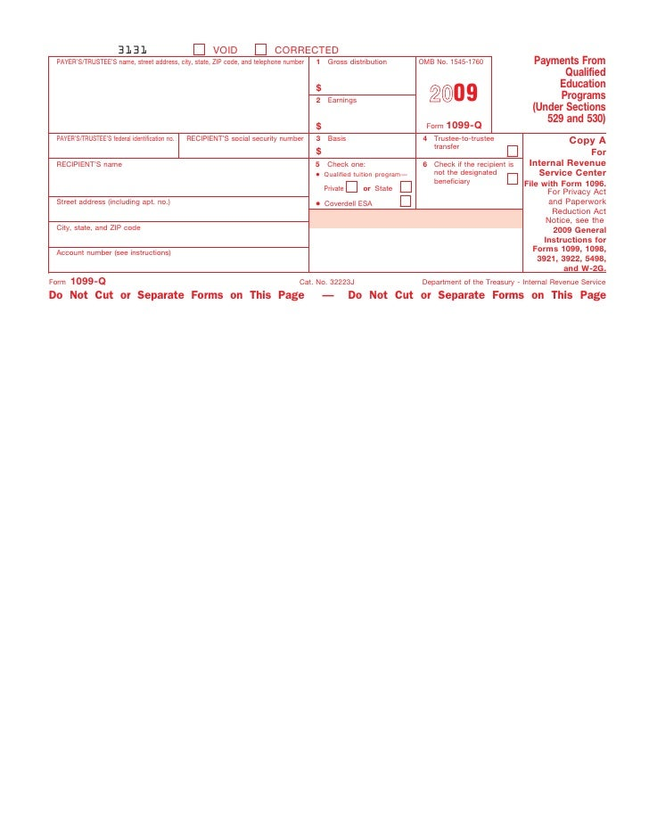 Form 1099 Q Payments From Qualified Education Programs Under Section