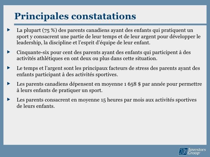Principales constatations   La plupart (75 %) des parents canadiens ayant des enfants qui pratiquent un    sport y consac...
