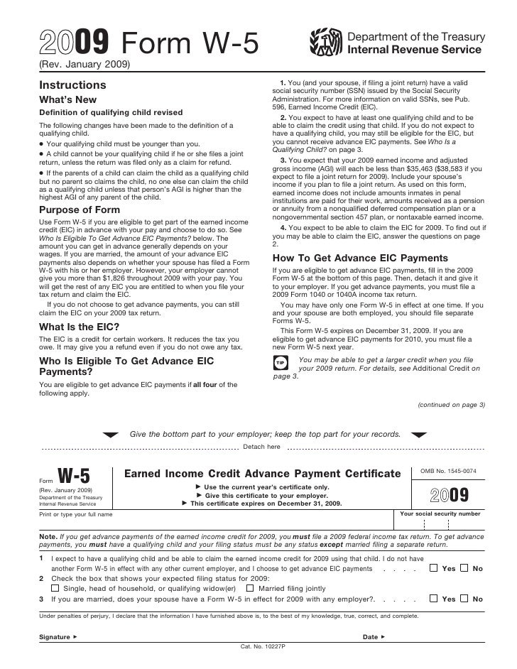Form W5 Earned Income Credit Advance Payment Certificate – Income Certificate Form