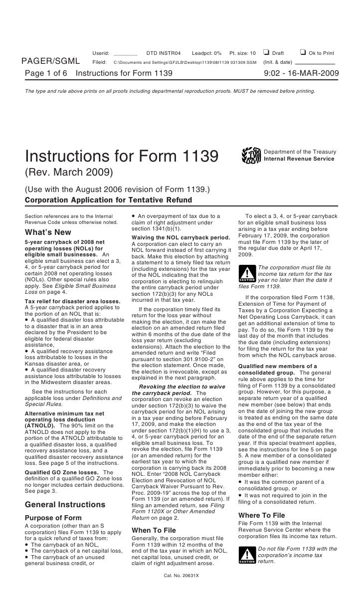 instructions for form 1139 corporation application for tentative ref. Black Bedroom Furniture Sets. Home Design Ideas