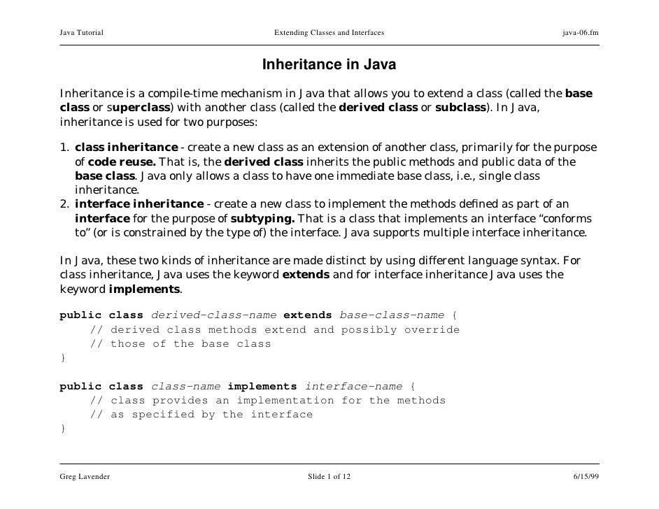 Java Tutorial                           Extending Classes and Interfaces                       java-06.fm                 ...