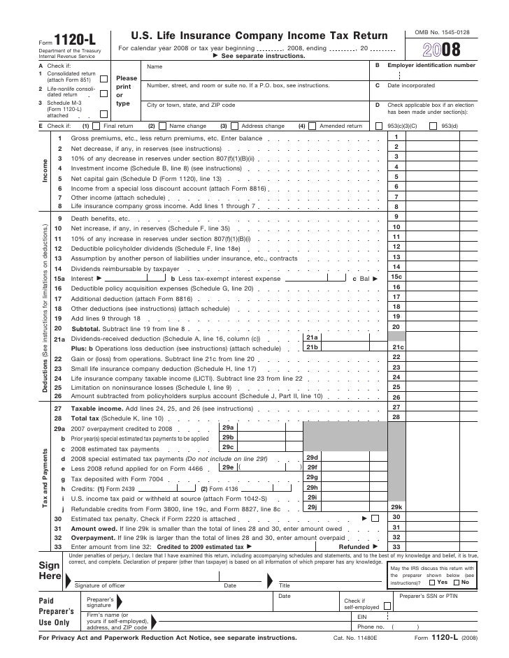 Form 1120 L Us Life Insurance Company Income Tax Return