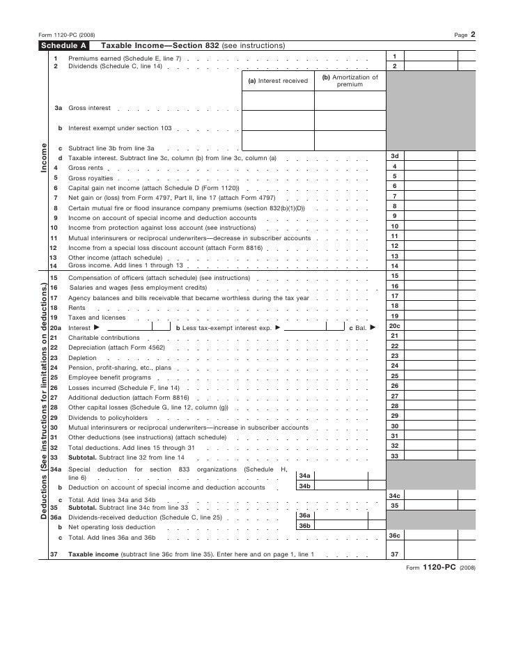 Form 1120-PC U S  Property and Casualty Insurance Company