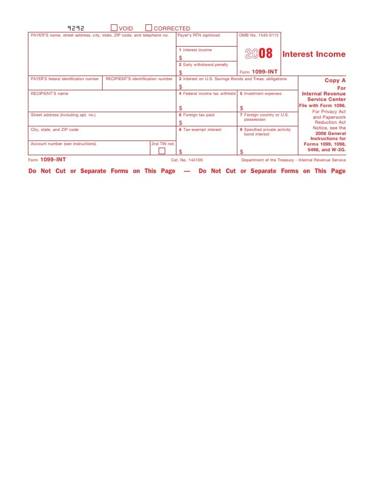 Form 1099-INT Interest Income (Info Copy Only)