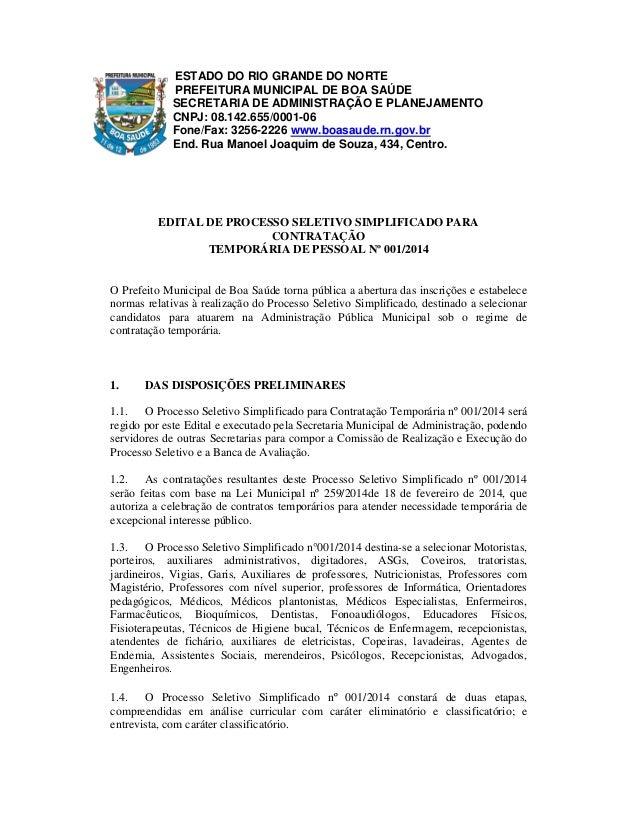 ESTADO DO RIO GRANDE DO NORTE PREFEITURA MUNICIPAL DE BOA SAÚDE SECRETARIA DE ADMINISTRAÇÃO E PLANEJAMENTO CNPJ: 08.142.65...
