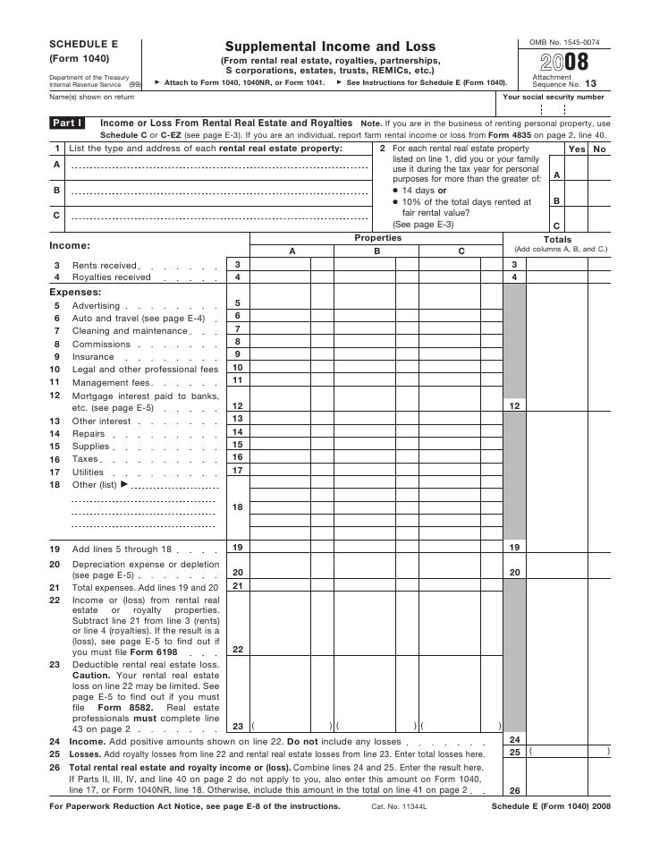 Form 1040, Schedule E-Supplemental Income And Loss