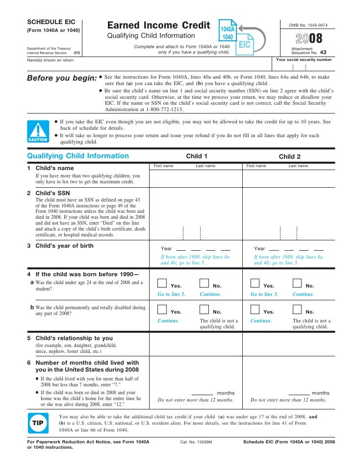 Form 1040/1040A, Schedule EIC-Earned Income Credit