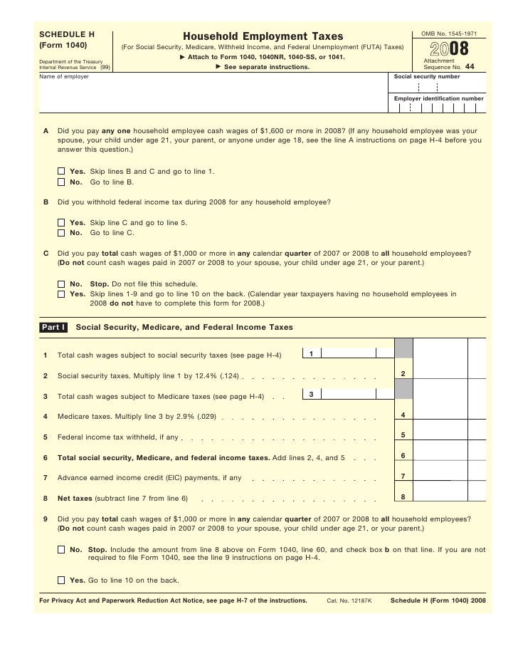 Form 1040, Schedule H-Household Employment Taxes