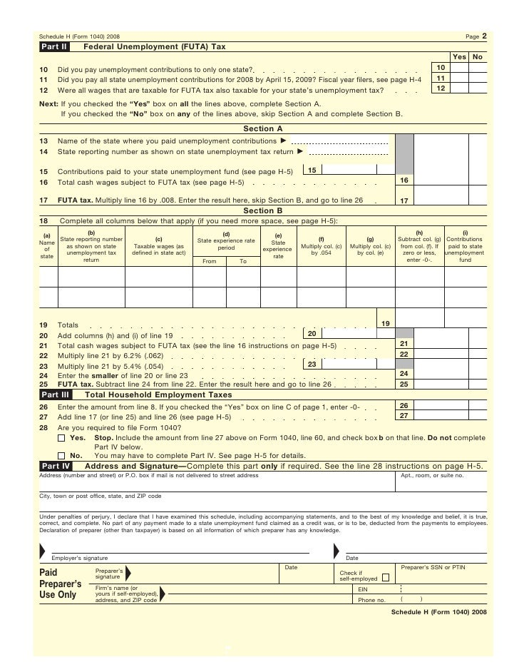 Form  Schedule HHousehold Employment Taxes