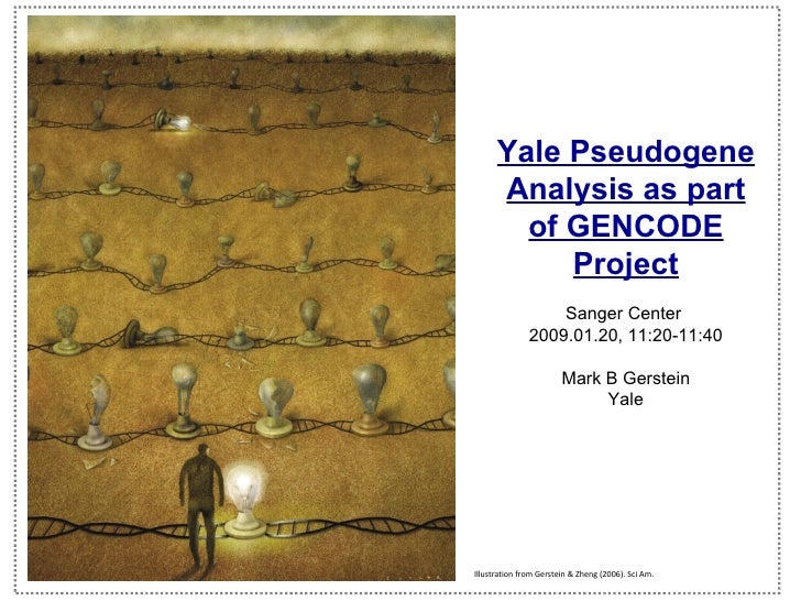Yale Pseudogene Analysis as part of GENCODE Project Sanger Center  2009.01.20, 11:20-11:40 Mark B Gerstein Yale   (c) Mark...