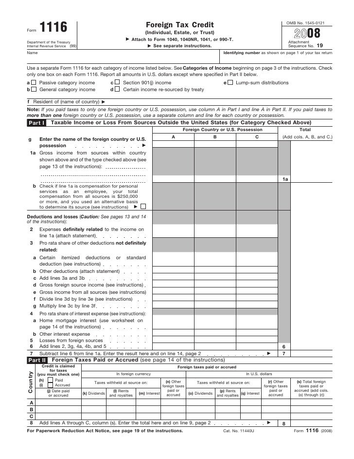 Form 1116 Foreign Tax Credit