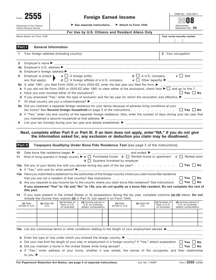 Form 2555 Foreign Earned Income