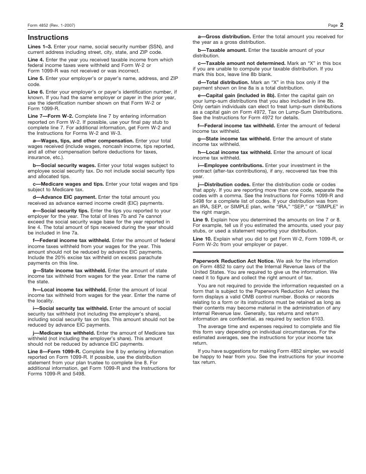 Form 4852 Substitute Form W 2 Or 1099r