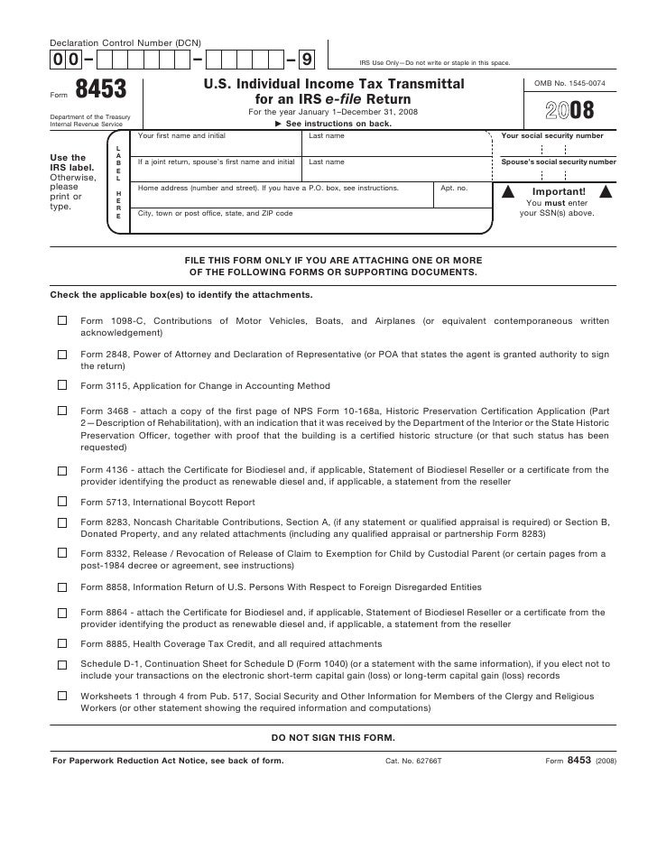 form 8453-u.s. individual income tax declaration for an irs e-file re…