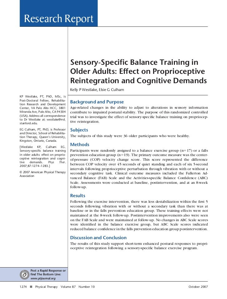 Research Report                                      Sensory-Specific Balance Training in                                  ...