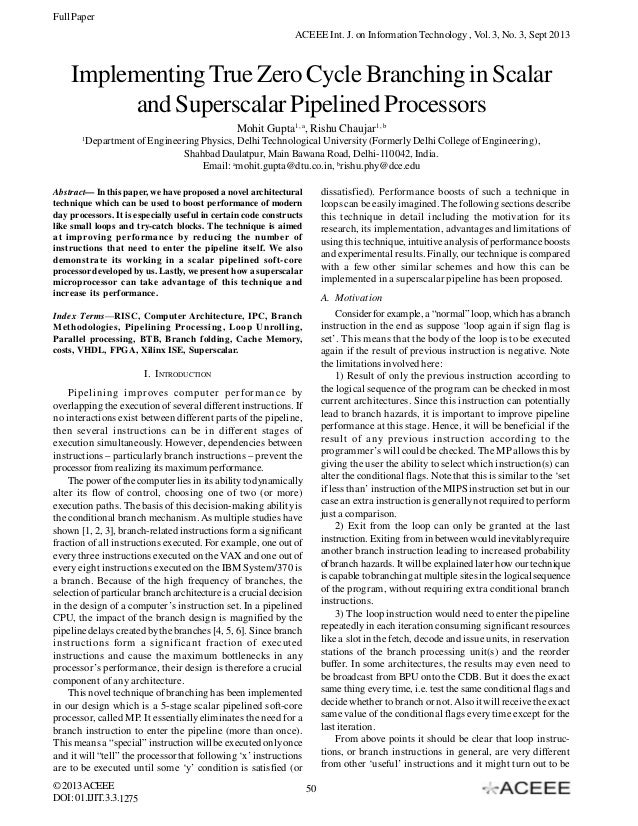 Full Paper ACEEE Int. J. on Information Technology , Vol. 3, No. 3, Sept 2013  Implementing True Zero Cycle Branching in S...