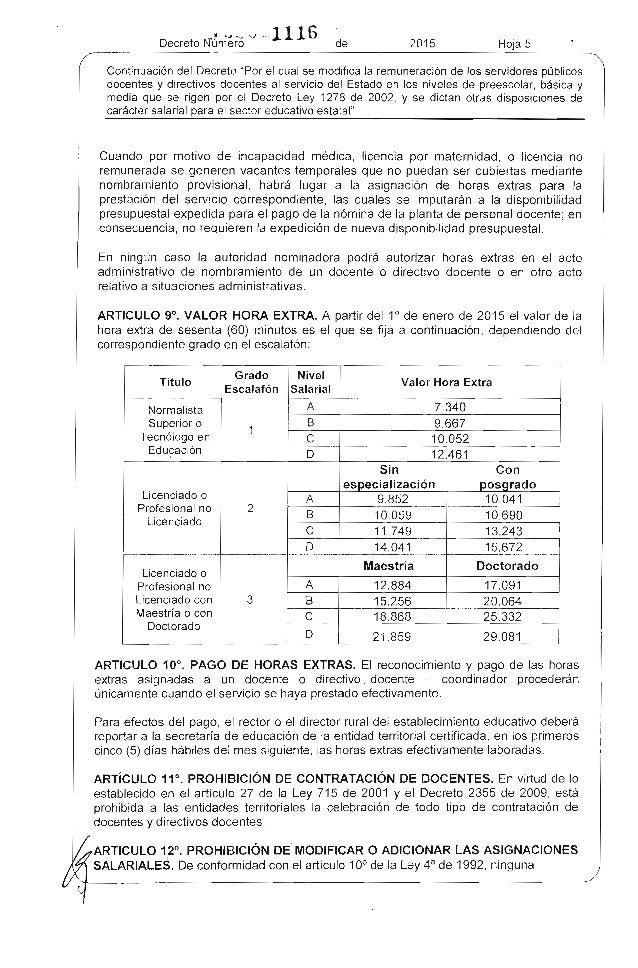 Decreto salarial del r gimen 1278 para el 2015 for Docentes en el exterior 2016