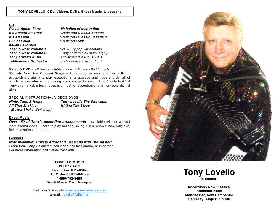 TONY LOVELLO CDs, Videos, DVDs, Sheet Music, & Lessons   CD Play It Again, Tony               Melodies of Inspiration It's...