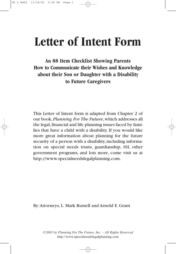 A Letter Of Intent Eczalinf