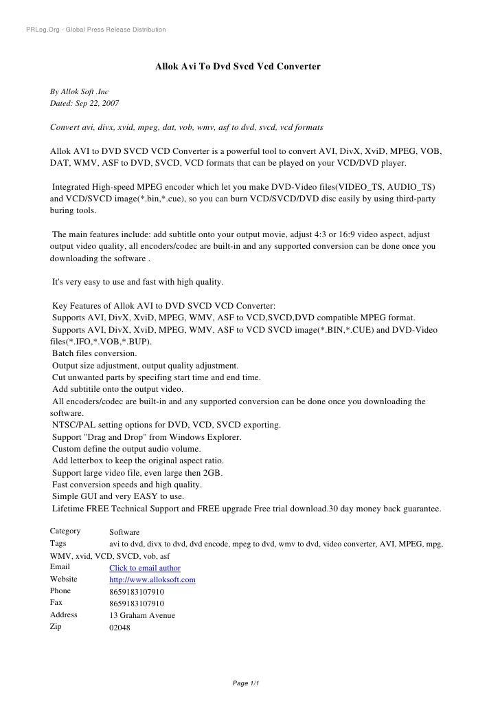 PRLog.Org - Global Press Release Distribution                                              Allok Avi To Dvd Svcd Vcd Conve...