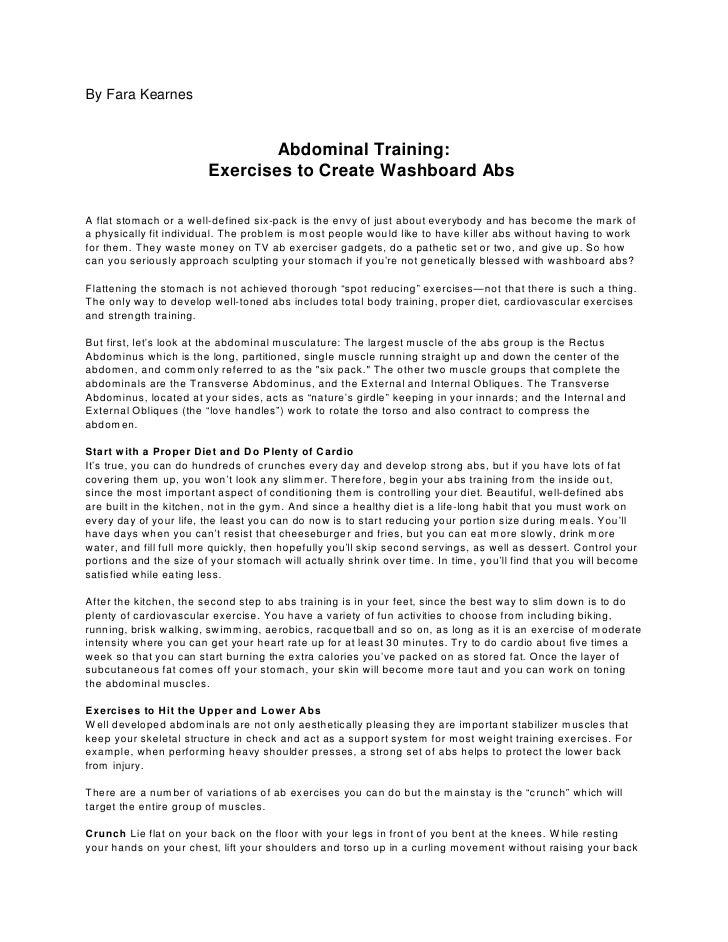 By Fara Kearnes                                    Abdominal Training:                          Exercises to Create Washbo...