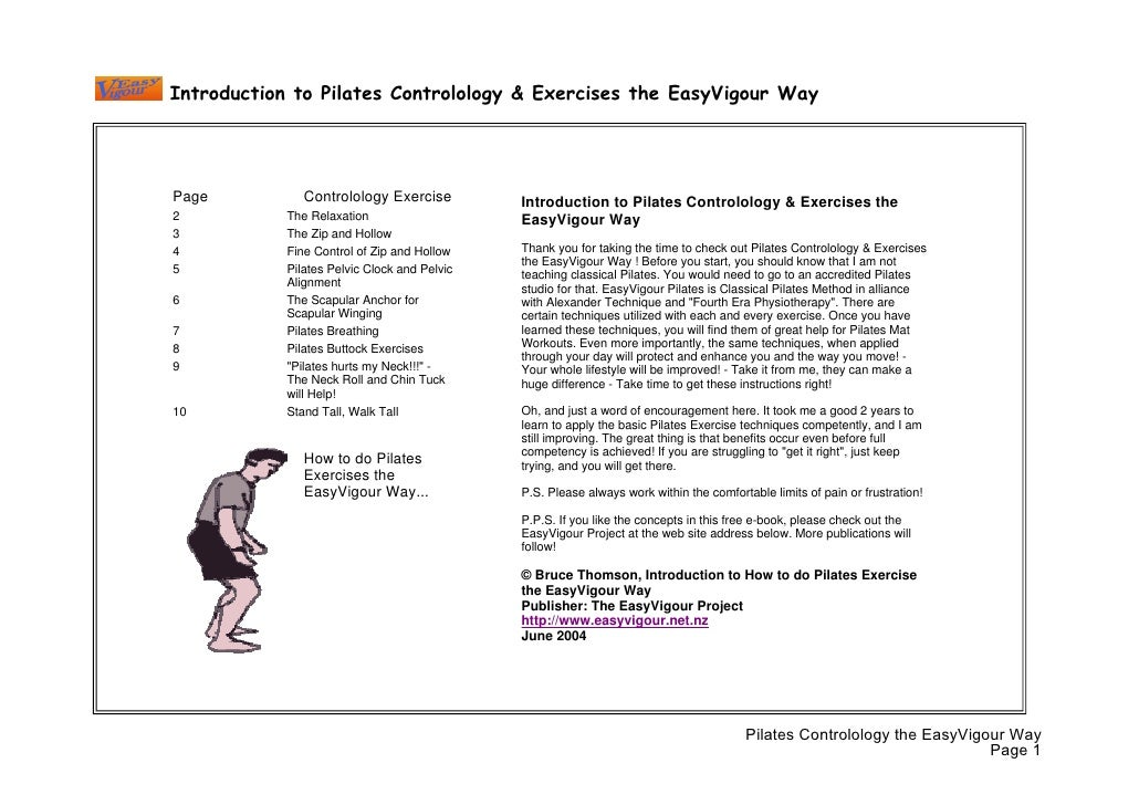 Introduction to Pilates Controlology & Exercises the EasyVigour Way     Page           Controlology Exercise          Intr...