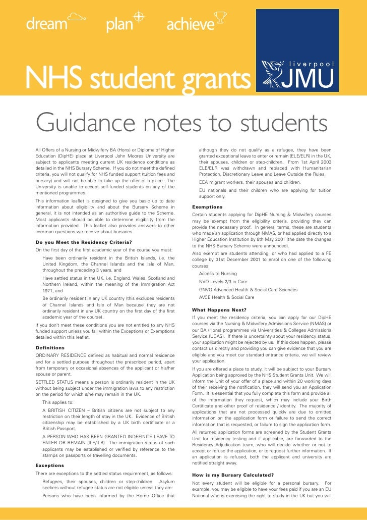 NHS student grants Guidance notes to students All Offers of a Nursing or Midwifery BA (Hons) or Diploma of Higher         ...