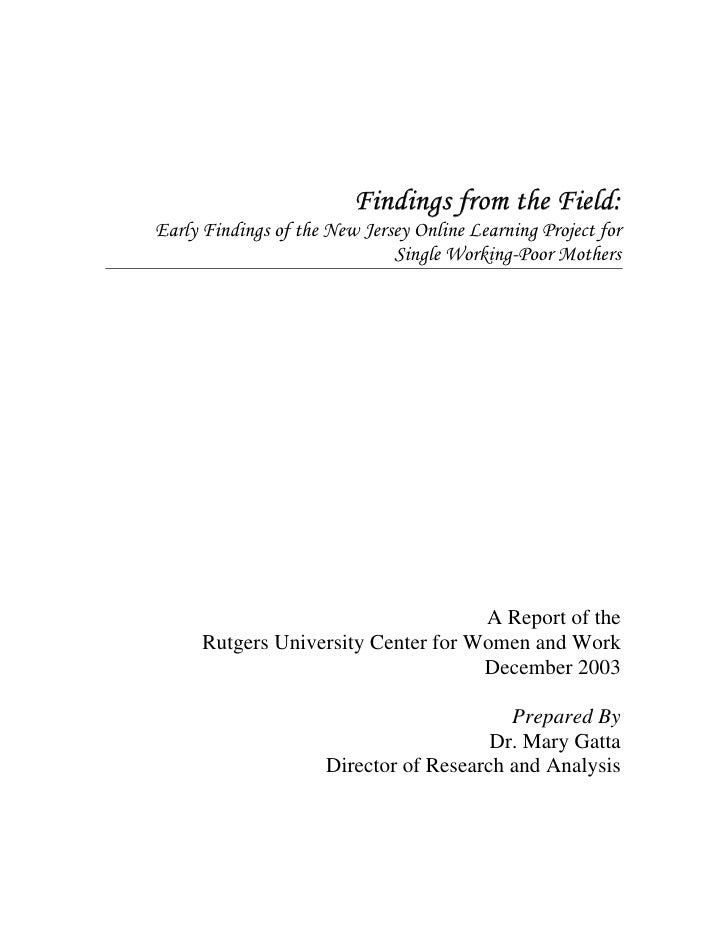 Findings from the Field: Early Findings of the New Jersey Online Learning Project for                               Single...