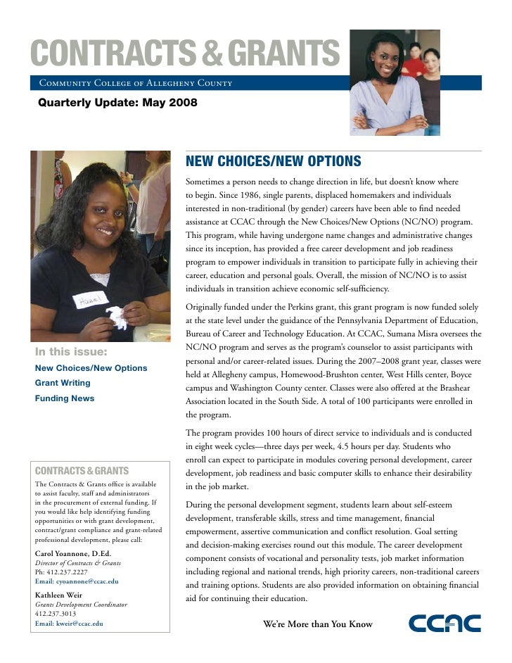 CONTRACTS & GRANTS  Community College of Allegheny County   Quarterly Update: May 2008                                    ...