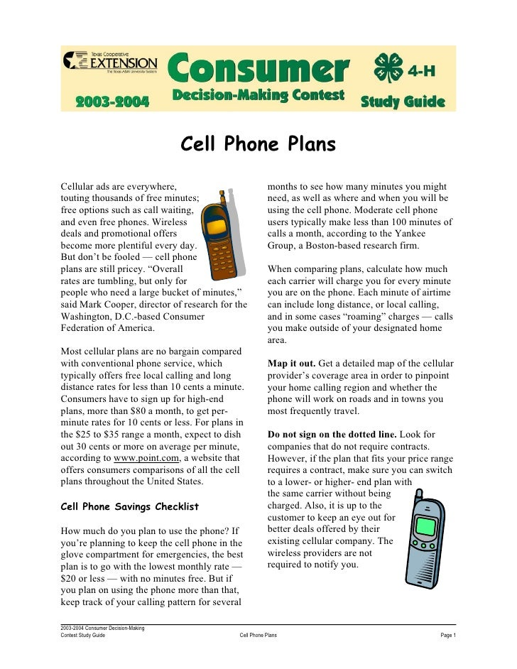 Cell Phone Plans Cellular ads are everywhere,                            months to see how many minutes you might touting ...