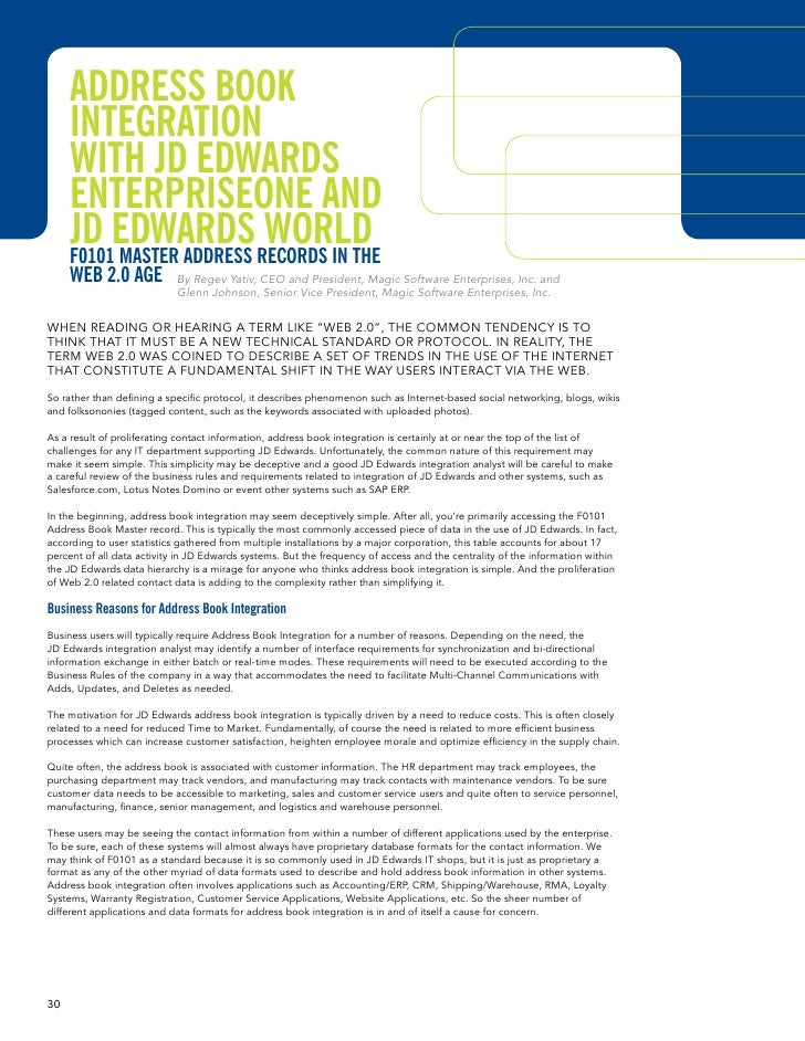 Address Book      IntegrAtIon      wIth Jd edwArds      enterprIseone And      Jd edwArdsrecords In the                   ...