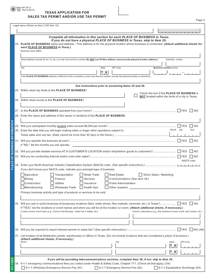 Texas fireworks tax forms ap 201 texas application for sales tax perm processor 3 ccuart Image collections