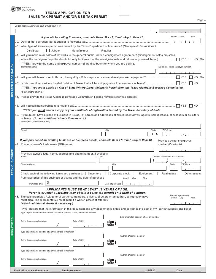 Texas Fireworks Tax FormsAp Texas Application For Sales Tax Perm