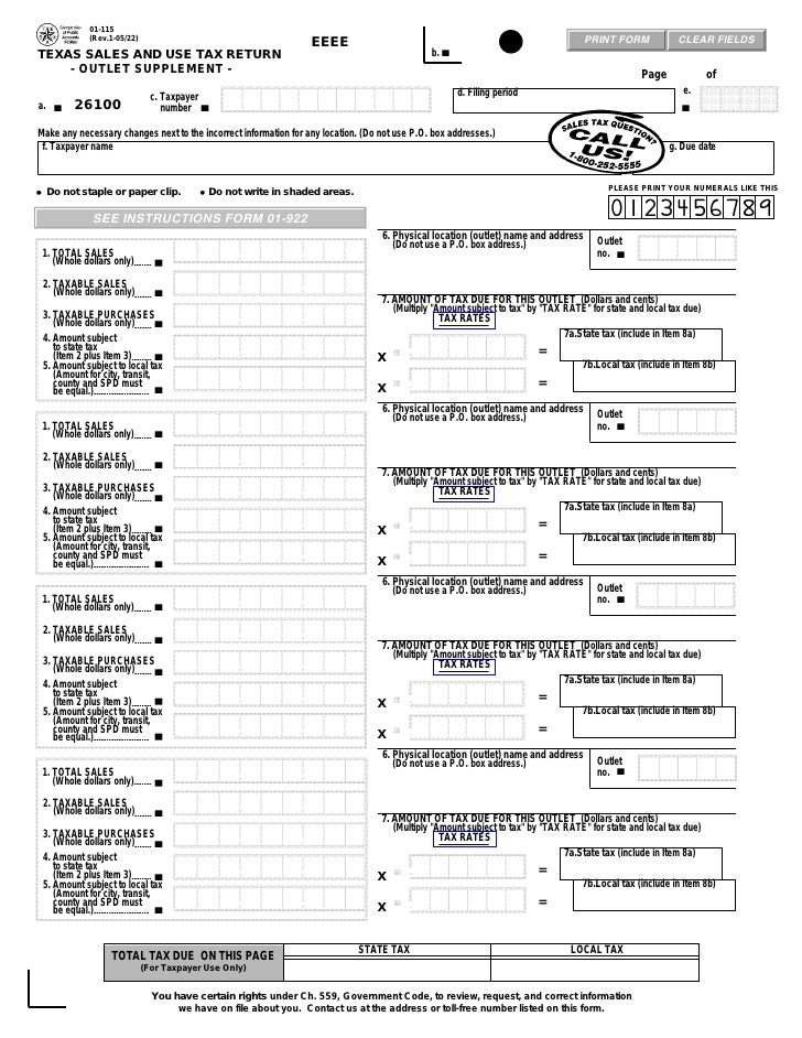 Texas Fireworks Tax Forms 01 115 Texas Sales Use Tax Return Outlet