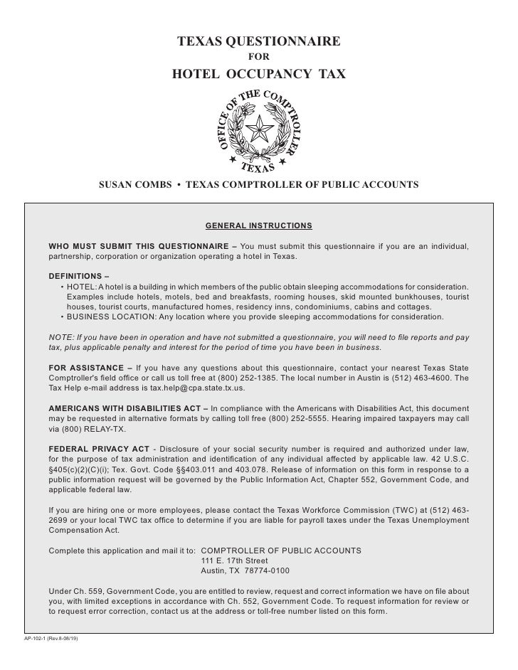 Texas Hotel Occupancy Tax Forms-AP-102 Hotel Occupancy Tax Questionna…