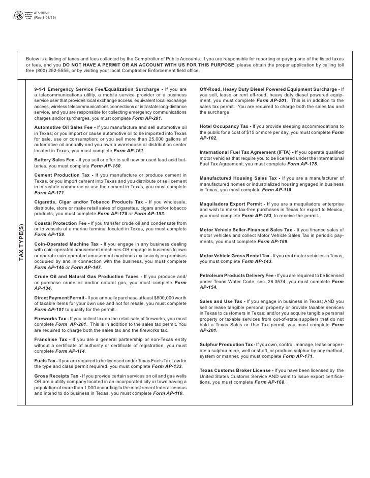 Texas Hotel Occupancy Tax Forms-AP-102 Hotel Occupancy Tax