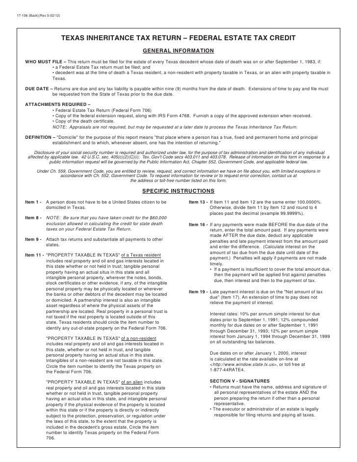 Texas Inheritance Tax Forms-17-106 Return -- Federal Estate