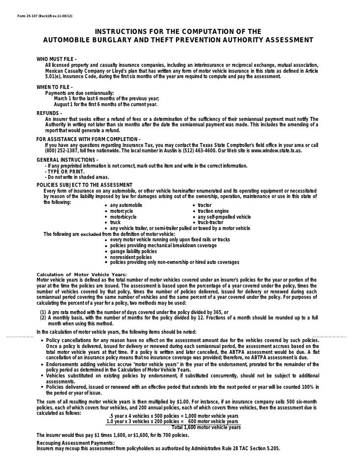 Texas Insurance Tax Forms25107 Automobile Burglary and Theft Preven – Tax Payment Report Worksheet