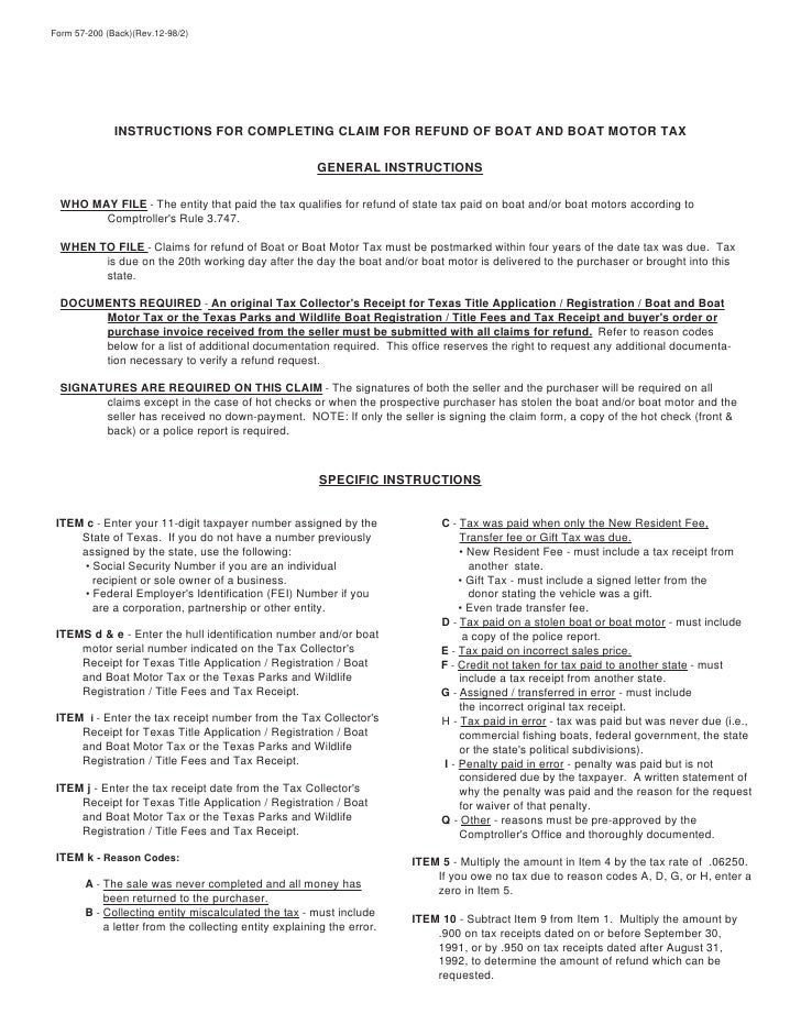 Miscellaneous Texas Tax Forms-57-200 Texas Claim for Refund of Boat a…