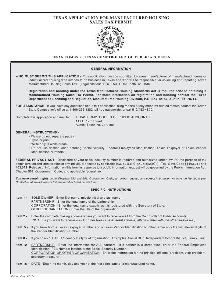 Miscellaneous Texas Tax Forms-AP-118 Texas Application for Manufactur…
