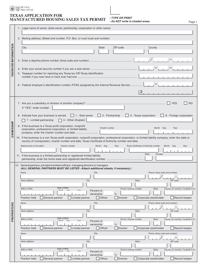 Miscellaneous Texas Tax Forms Ap 118 Texas Application For Manufactur