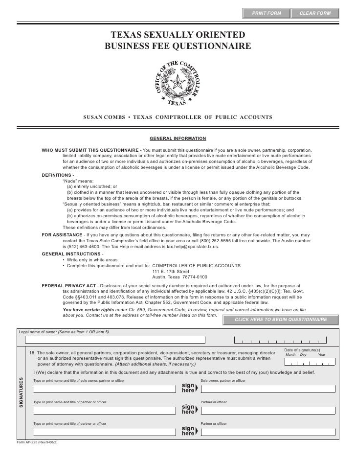 Texas sexually oriented business ordinance