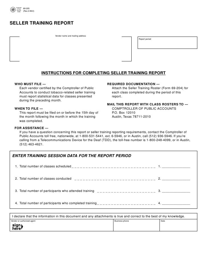 Texas Underage Smoking Regulatory Forms 69 205 Seller Training Repo