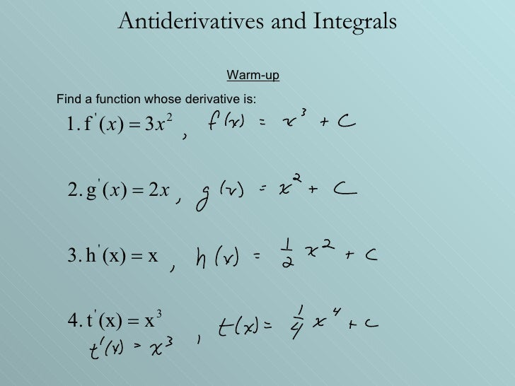 Antiderivatives and Integrals Warm-up Find a function whose derivative is: