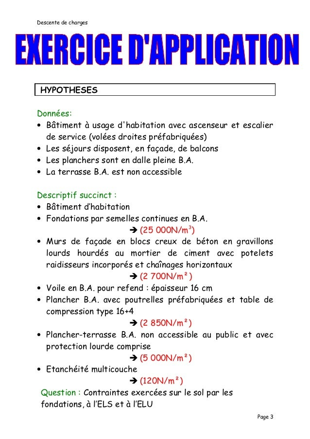 Exemple De Descente De Charges